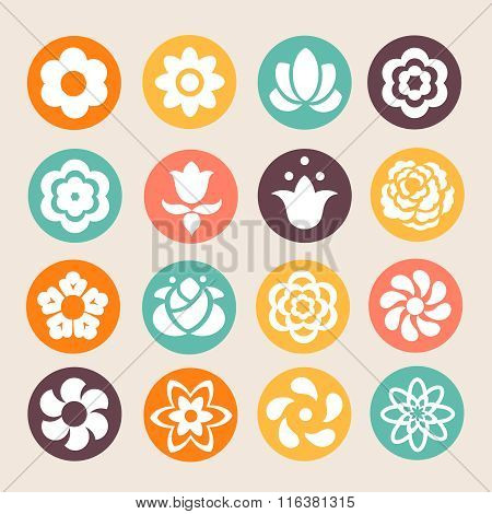 set of colorful flowers circle icons