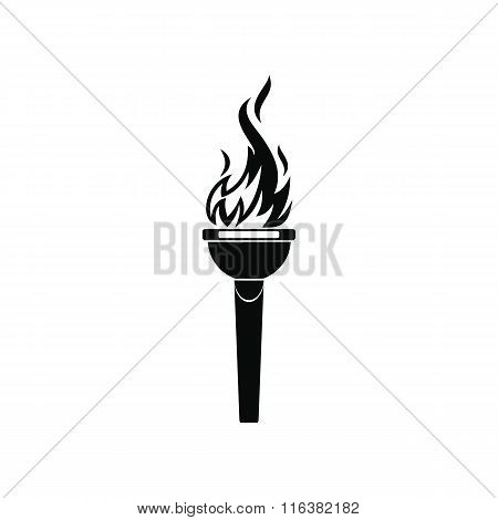 Burning torch black simple icon
