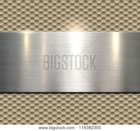 Background, polished beige metal texture, vector.