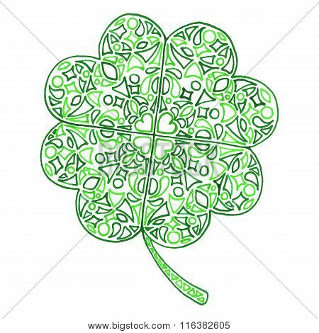 Doodle Zentangle Clover Shamrock Saint Patrick's Day Vector Isolated