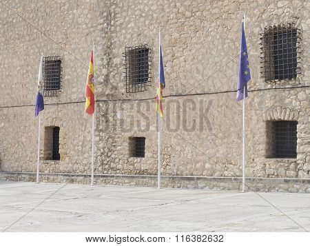 Four Flags Of Spain And The Eu