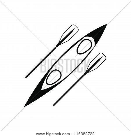Kayak and rowing oar black simple icon