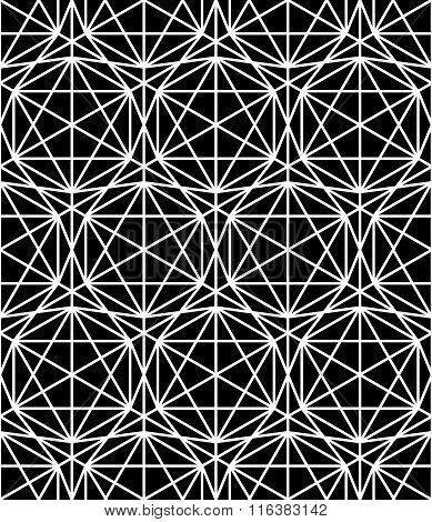 Vector modern seamless sacred geometry pattern grid black and white abstract
