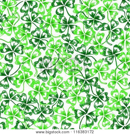 Doodle Green Clover Saint Patrick's Day Vector Seamless Pattern