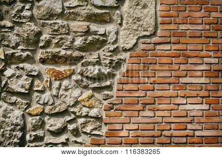 Vintage Brick And Stone Wall