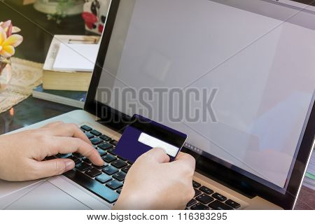 Hands, Credit Card And Computer For Online Shoping Concept