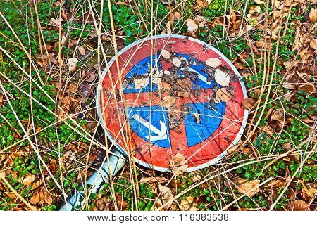 Broken Traffic Sign No Standing At Any Time Lying In The Grass