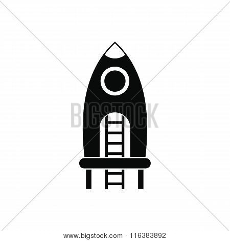 Rocket with stairs on a playground icon