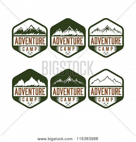 Set Of Vintage Labels Adventure Camp
