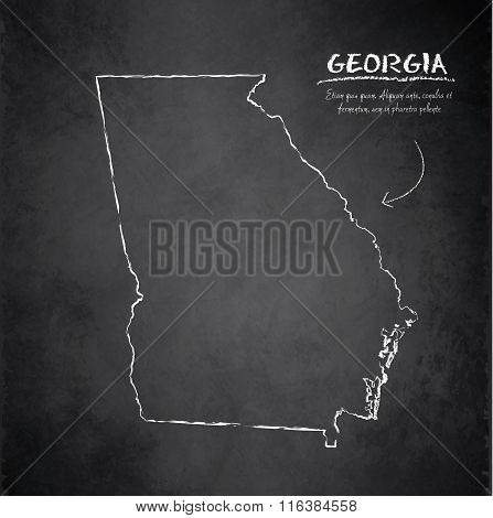 Georgia map blackboard chalkboard vector
