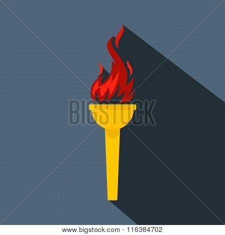 Burning torch flat icon