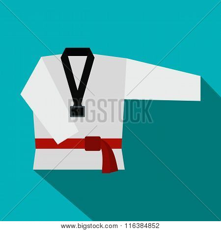 Kimono and martial arts red belt flat icon