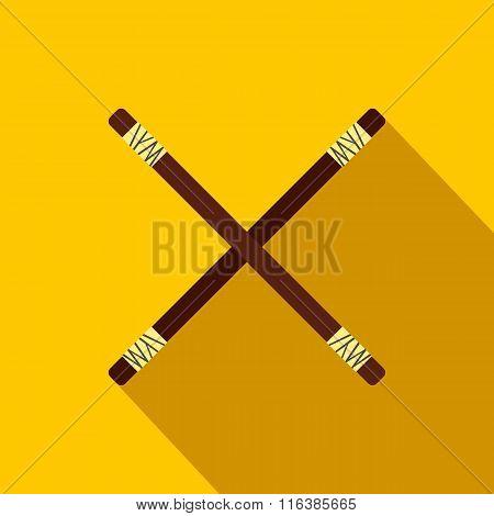 Wooden sword bokken flat icon