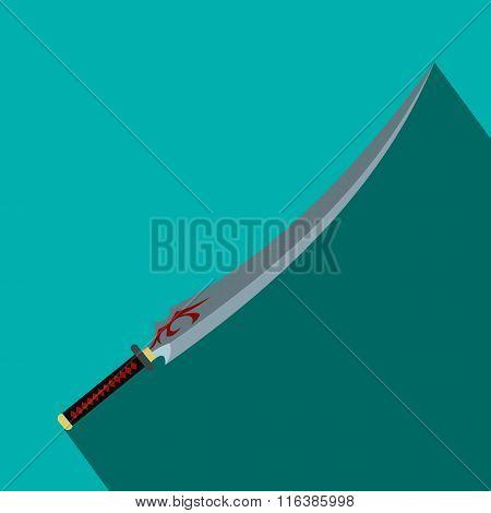 Japanese sword flat icon