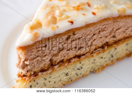 Cut A Piece Of Cake On White Plate Closeup