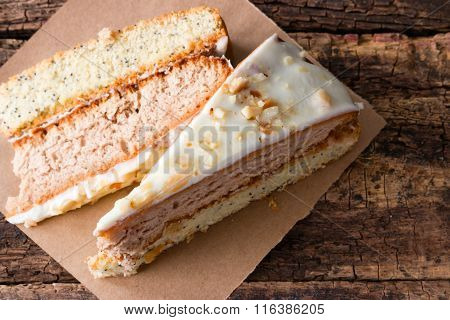 Homemade Cake With Nuts On A Wooden Background