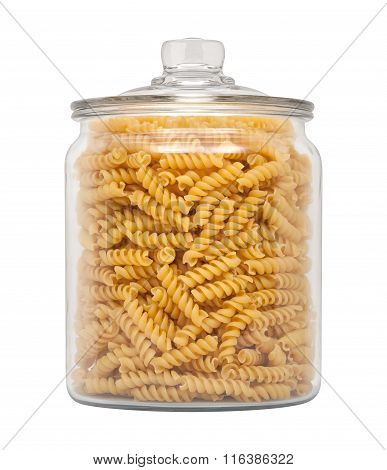 Rotini Pasta In A Glass Apothecary Jar