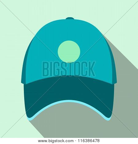 Blue baseball hat flat icon