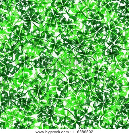 Doodle Green Clover Shamrock Saint Patrick's Day Seamless Pattern