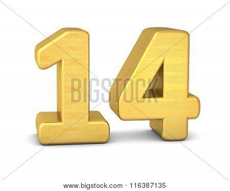 3D Number 14 Gold