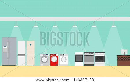 A poster with a view of the interior of the store large home appliances. Vector illustration