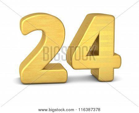 3D Number 24 Gold