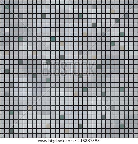 Seamless grey square mosaic vector texture.