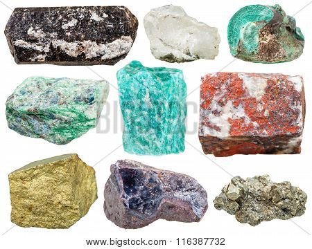 Set Of Various Mineral Rocks And Stones Isolated
