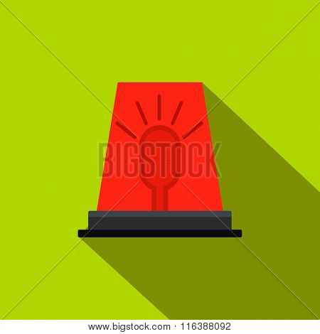Siren red flashing emergency light flat icon
