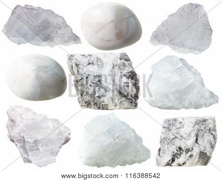 Magnesite Rocks And Tumbled Gem Stones Isolated