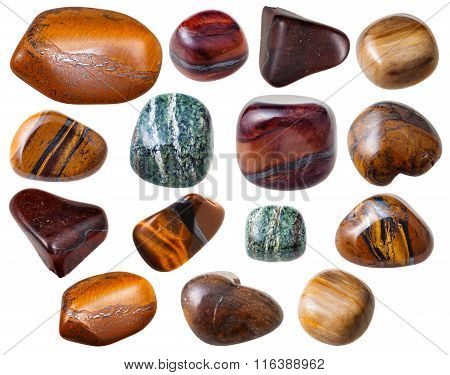 Various Tiger's Eye ( Tigereye) Gemstones Isolated