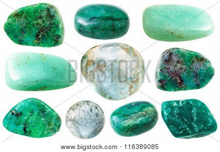 Various Green Beryl And Aquamarine Gem Stones