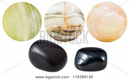 Black And Marble Onyx Natural Mineral Gem Stones