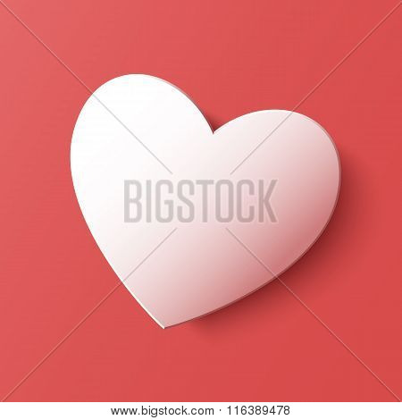 Paper heart Valentines day card on pink background. Vector abstract illustration with heart. Heart c