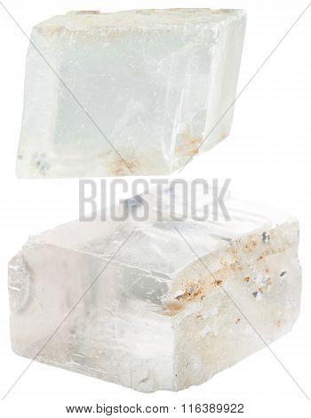 Two Transparent Iceland Spar Mineral Gem Stones