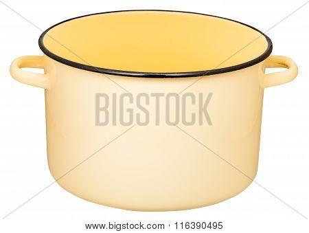 Classic Big Yellow Enamel Stockpot Isolated