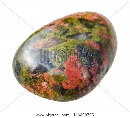 Tumbled Unakite Gemstone Isolated On White