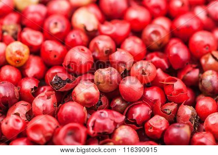 Dried Red Pepper Peppercorns Close Up