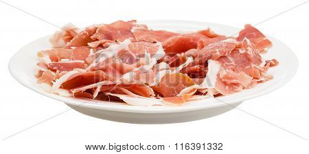 Side View Of Thin Sliced Dry-cured Ham On Plate