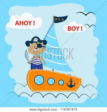 Ahoy! It's A Boy! Cute Cat On A Pirate Ship.