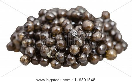 Handful Of Black Sturgeon Caviar Close Up Isolated