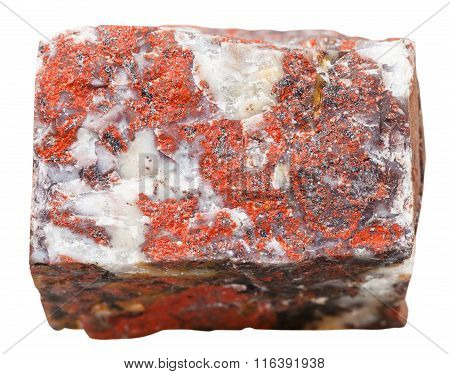 Brecciated Jasper Mineral Stone Isolated On White