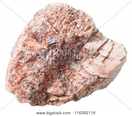 Pebble From Pink Granitic Gneiss Rock Isolated