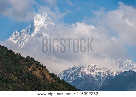 View Of The Himalayan Peak Machhapuchre In Nepal
