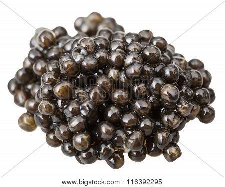 Above View Handful Of Black Sturgeon Caviar