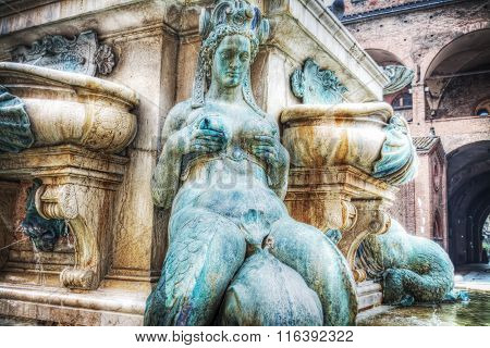 Nymph In Neptune Fountain In Bologna