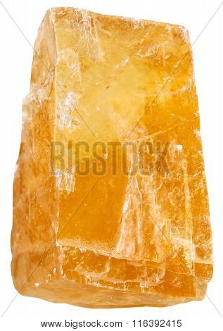 Crystal Of Orange Calcite Mineral Stone Isolated