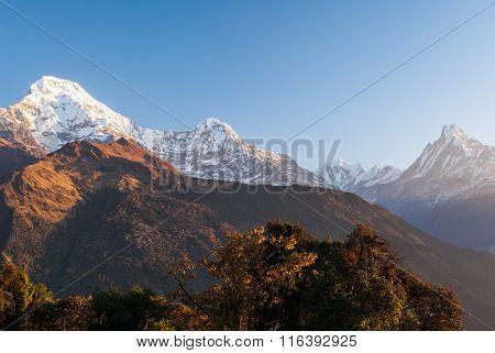 Annapurna Mountain Range At Sunset, Nepal