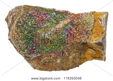 Rainbow Pyrite Mineral Stone Isolated On White