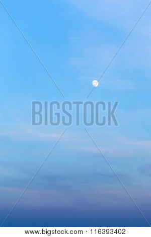 Full Moon In Blue Twilight Sky